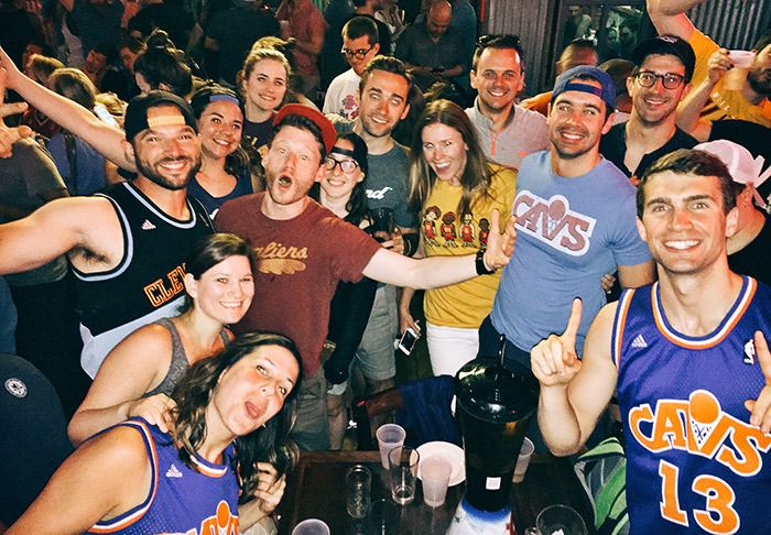 Cleveland Browns Backers in NYC celebrate the Cavs NBA Finals championship at Brother Jimmy's Union Square