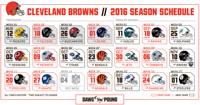 Cleveland Browns 2016 schedule