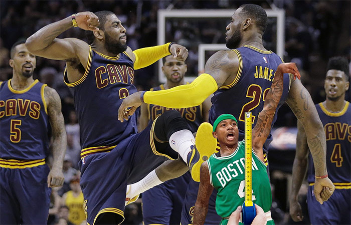 Kyrie Irving Lebron James kicking Isiah Thomas