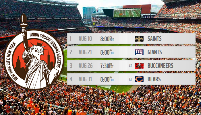 Cleveland Browns preseason schedule for games in nyc
