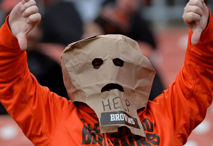 Angry Sad Cleveland Browns Fan Bag over head