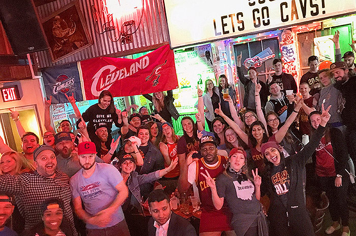 Cleveland Cavs bar NYC fans celebrate win