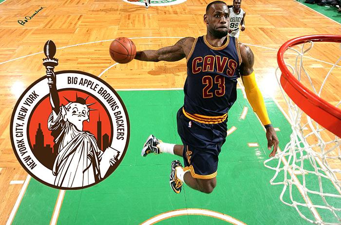 Lebron James dunking basketball in Boston