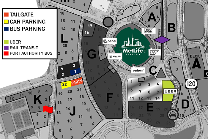 Tailgate info for Cleveland Browns vs Jets game at Met Life